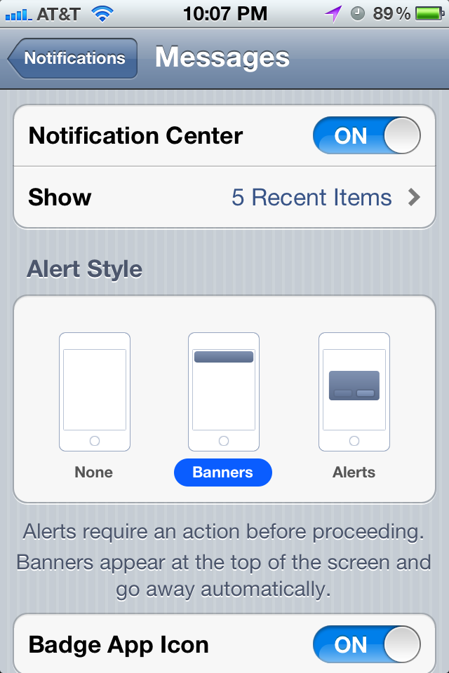 App Notification Settings
